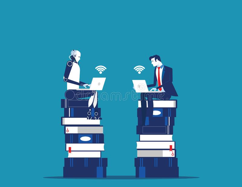 Robota obsiadanie na wiedzy baseand strategii planuje z istotą ludzką Poj?cie technologii wektoru biznesowa ilustracja ilustracja wektor