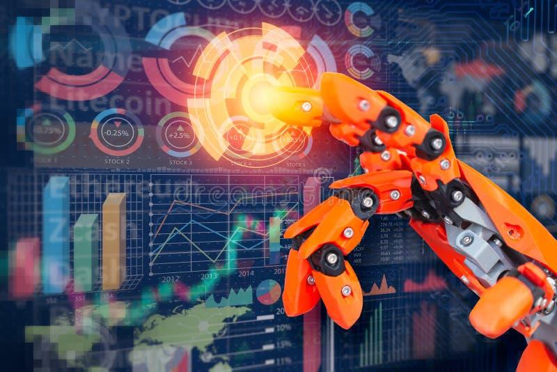 Robota palca dotyka mieszanki medialnego ekranu wyświetlacza biznesowi dane infographic dla futurystycznego cyber royalty ilustracja