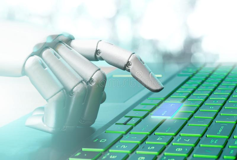 Robota pojęcia lub robot technologii ręki chatbot naciska komputerową klawiaturę wchodzić do rocznika brzmienie royalty ilustracja