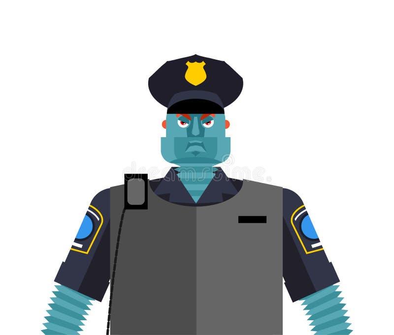 Robota policjant Policjanta cyborg Oficera mężczyzny Milicyjna mechaniczna przyszłość ilustracji