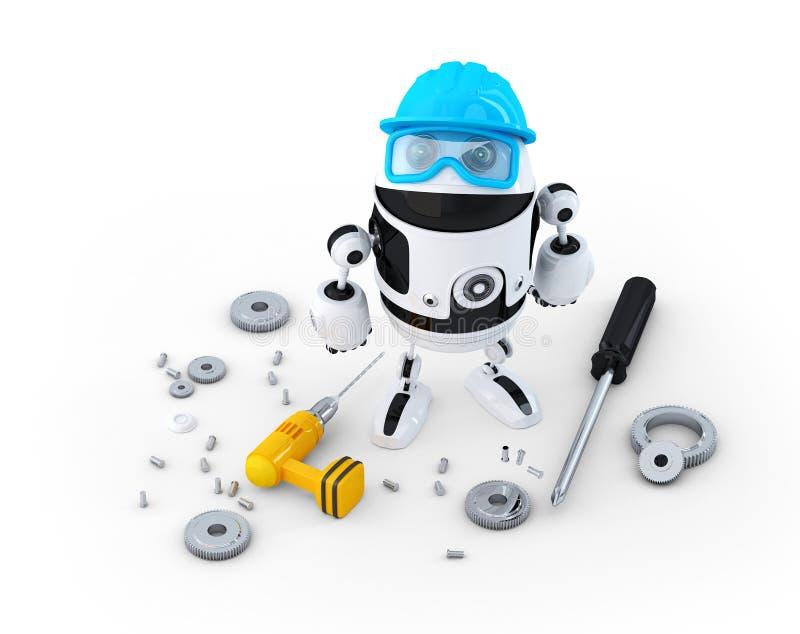 Robota pracownik budowlany z różnorodnymi narzędziami. Technologii pojęcie royalty ilustracja