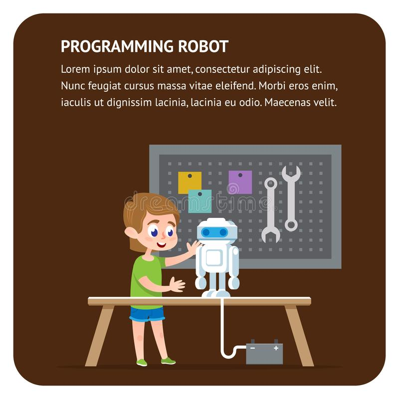Robota programowania mieszkania sztandar Potomstwo inżyniera chłopiec royalty ilustracja