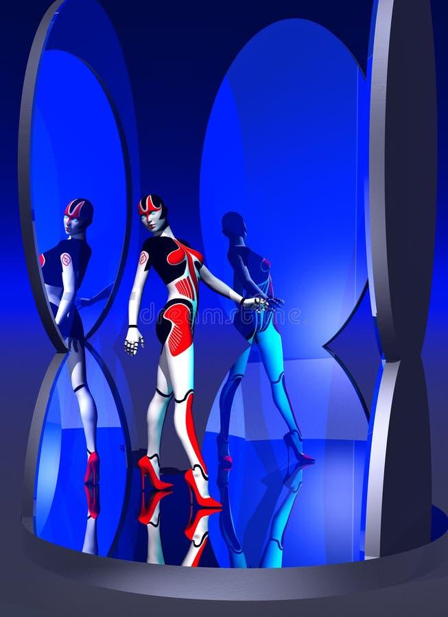Robota ` s bezcelowość, android kobieta próbuje szpilki czerwonych buty, 3d ilustracja royalty ilustracja