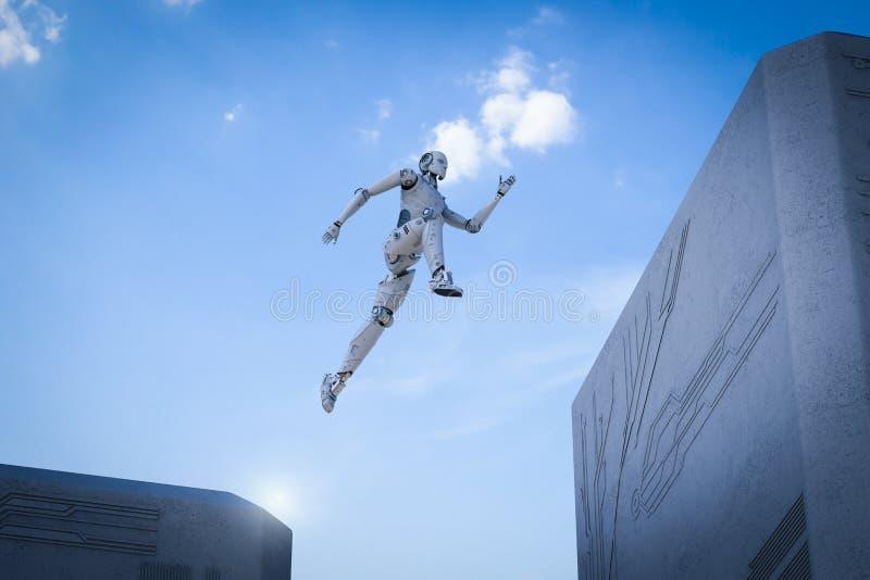 Robota skok przez ilustracja wektor