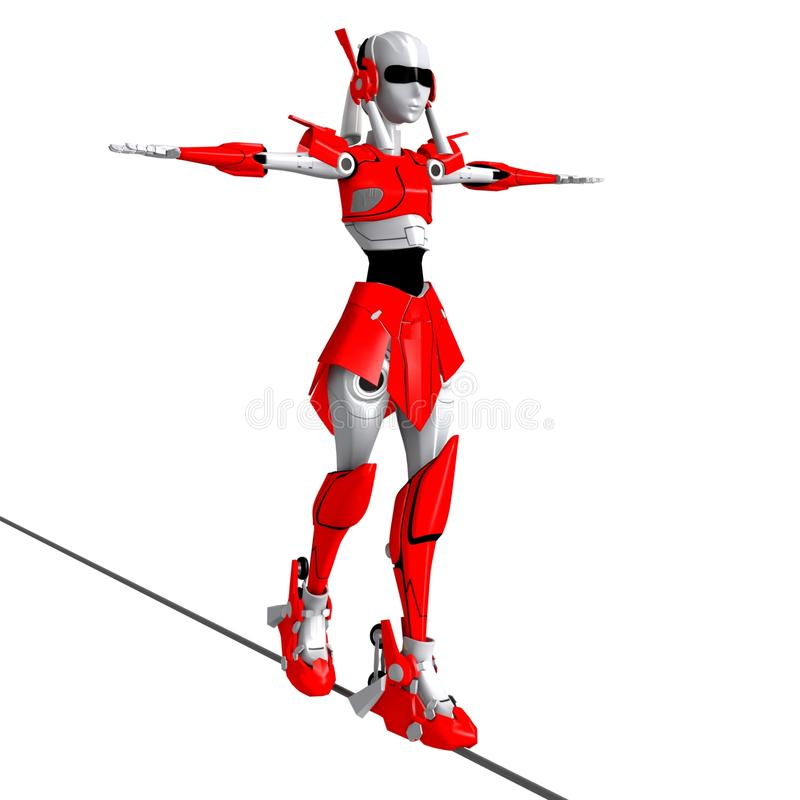 Robota spaceru stojak na linii ilustracja wektor