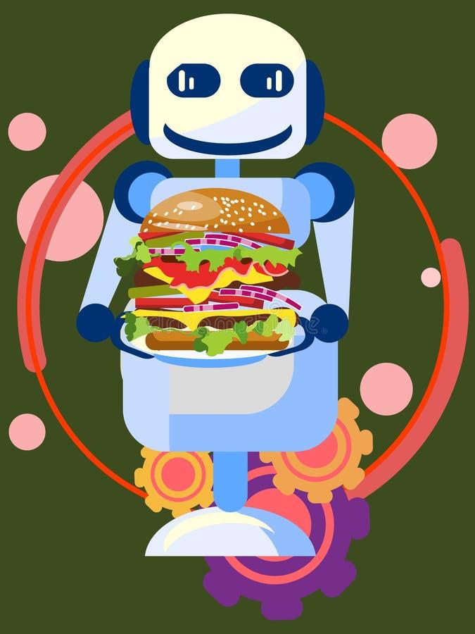 Robota sprzedawca przedstawia nowego smakowitego hamburger, jedzenie W minimalisty stylu Kreskówki mieszkania wektor royalty ilustracja