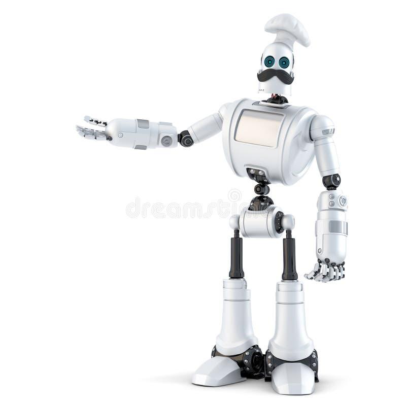 Robota szef kuchni pokazuje niewidzialnego przedmiot ilustracja 3 d odosobniony ilustracji