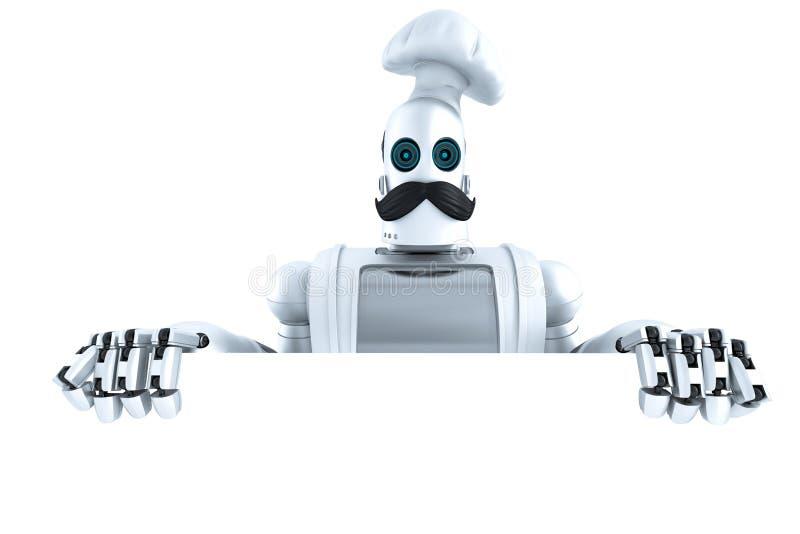 Robota szef kuchni z puste miejsce pustą deską ilustracja 3 d odosobniony Co ilustracja wektor