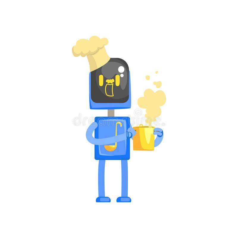 Robota szefa kuchni kucharza charakteru kreskówki wektoru ilustracja royalty ilustracja