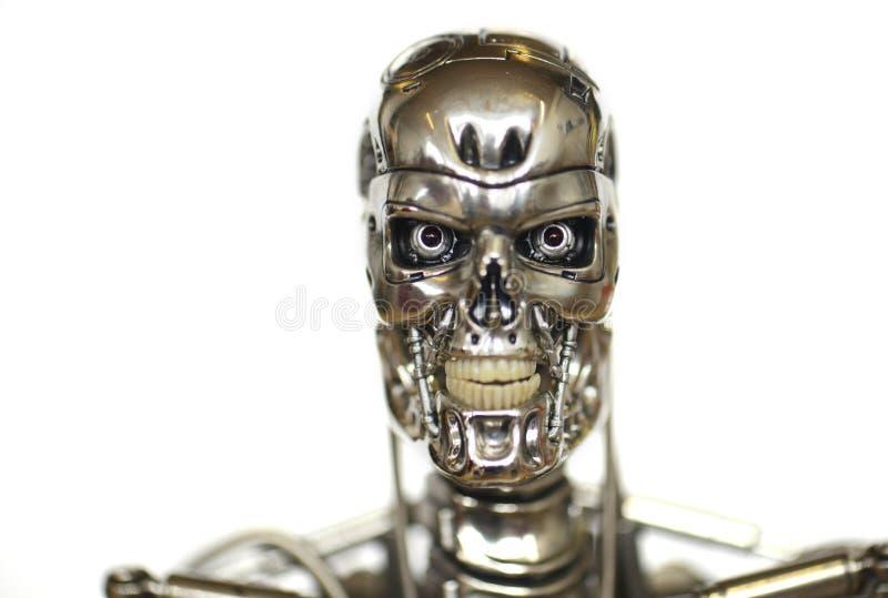 robota terminator z białym tłem obrazy royalty free