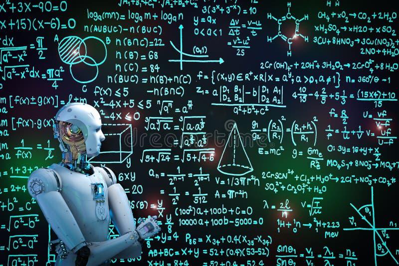 Robota uczenie lub rozwiązywać problemy ilustracja wektor