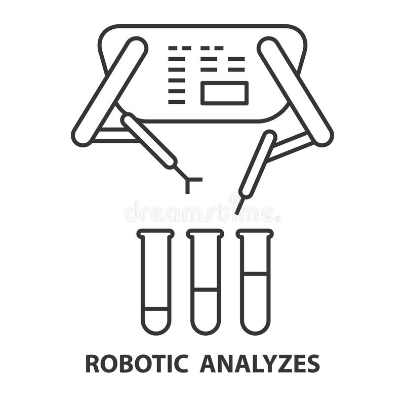 Robotachtig analyseert pictogram vector illustratie