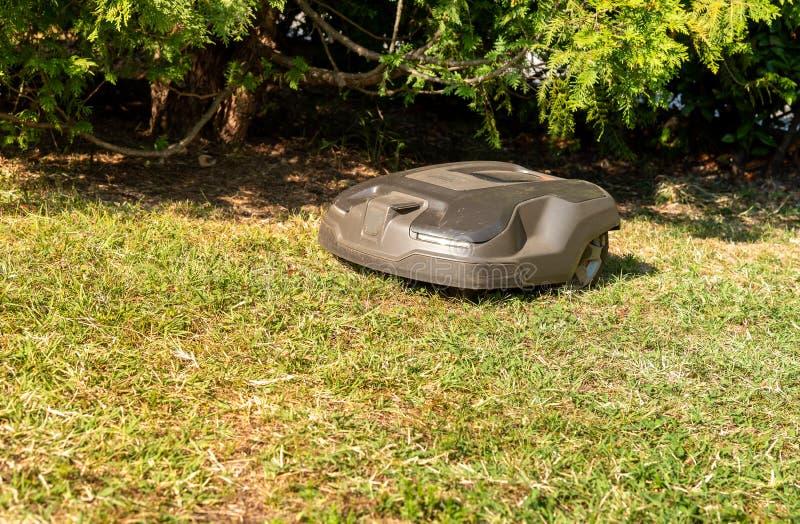 Robotachtig grasmaaimachine scherp gras in de tuin royalty-vrije stock foto's
