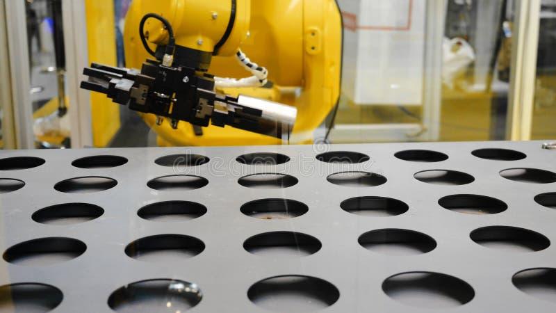 Robotachtig sorterend systeem media De tang op universele robot sorteert details in slim pakhuis stock afbeeldingen