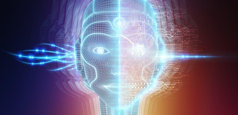 Robotachtig vrouwen cyborg gezicht die kunstmatige intelligentie het 3D teruggeven vertegenwoordigen royalty-vrije illustratie