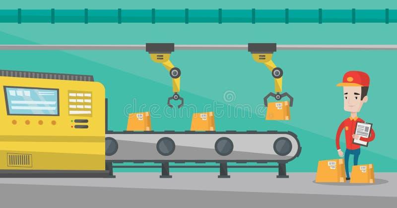 Robotachtig wapen die aan productielijn werken vector illustratie