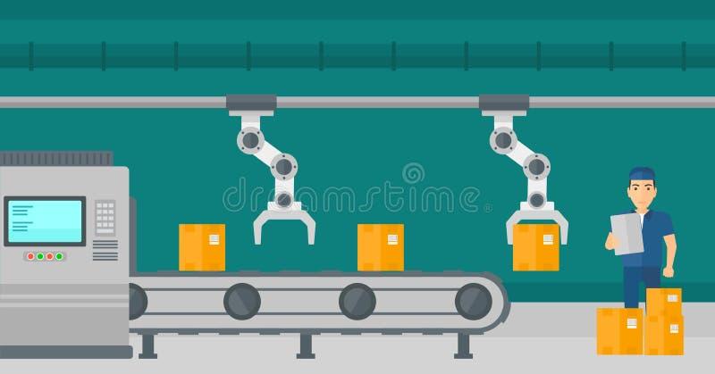 Robotachtig wapen die aan productielijn werken royalty-vrije illustratie