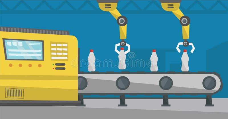 Robotachtig wapen die aan transportband met flessen werken stock illustratie