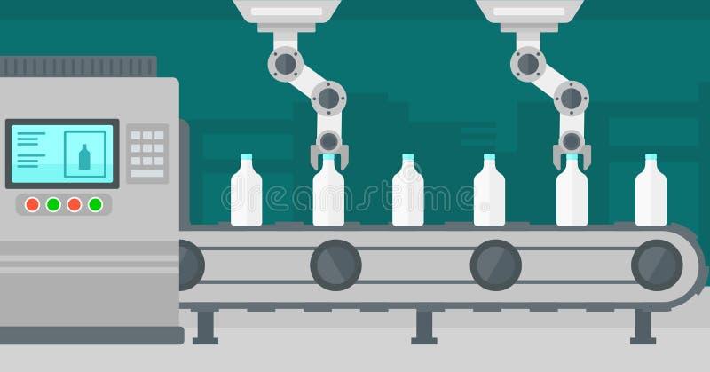 Robotachtig wapen die aan transportband met flessen werken vector illustratie
