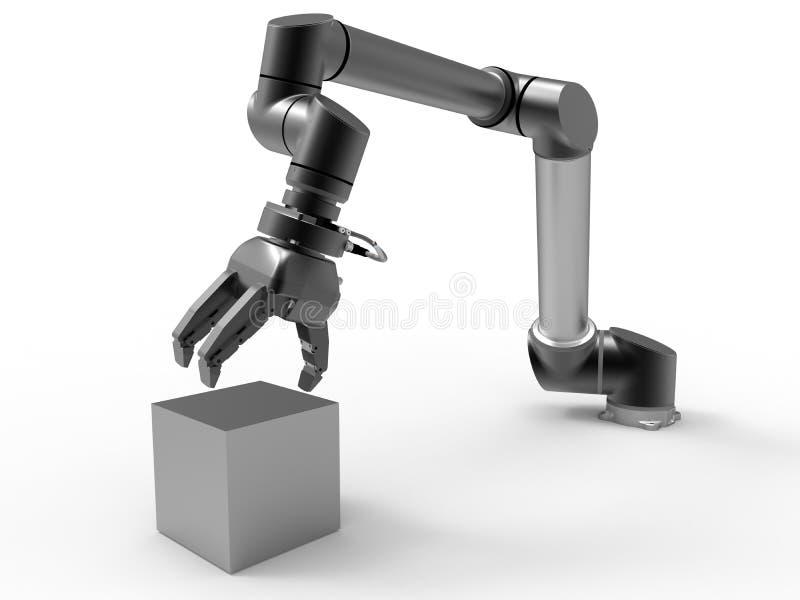 Robotachtig wapen die een kubus plukken stock illustratie