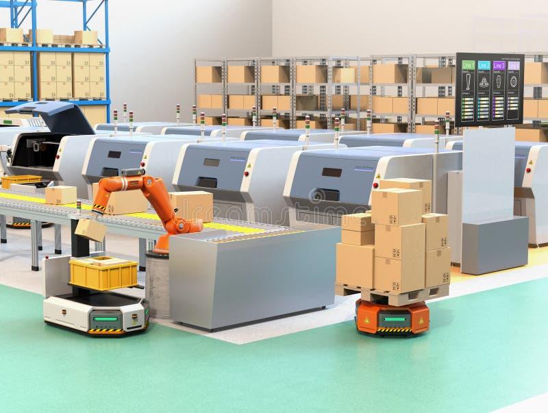 Robotachtig wapen het plukken pakket van transportband aan AGV vector illustratie