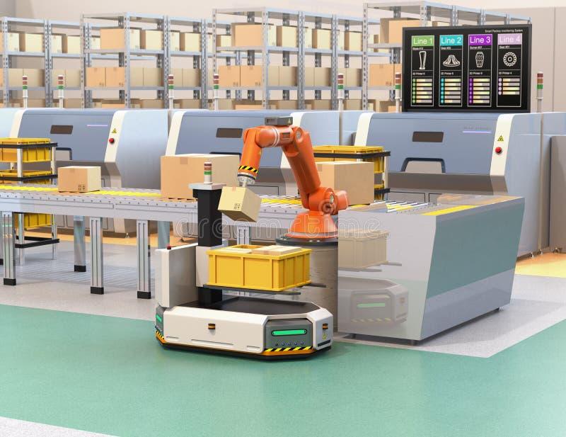 Robotachtig wapen het plukken pakket van transportband aan AGV stock illustratie