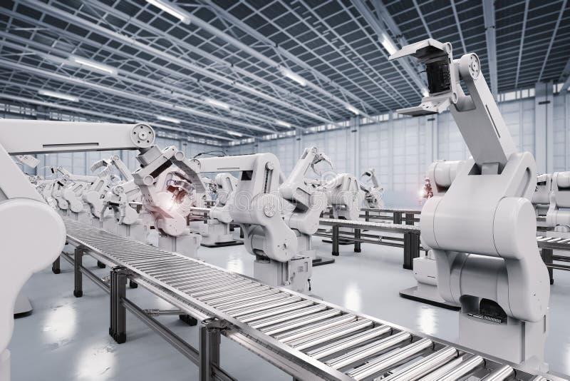 Robotachtig wapen met transportbandlijn stock foto