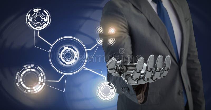Robotachtige androïde hand en de Gloeiende interface van de cirkeltechnologie royalty-vrije illustratie