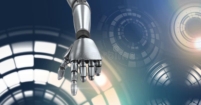 Robotachtige androïde hand en de Gloeiende interface van de cirkeltechnologie vector illustratie
