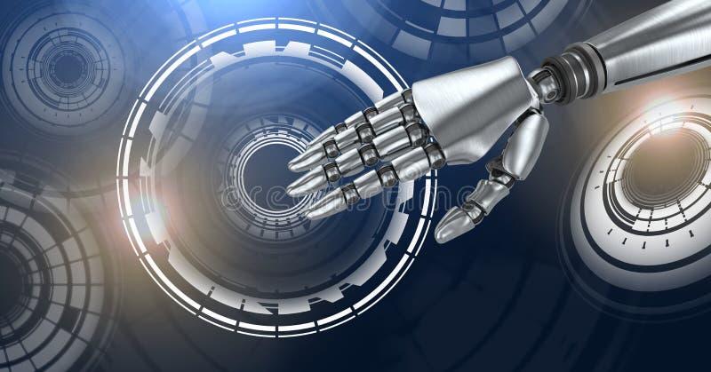 Robotachtige androïde hand en de Gloeiende interface van de cirkeltechnologie stock illustratie