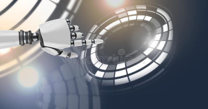 Robotachtige androïde hand en wat betreft cirkelinterface royalty-vrije illustratie