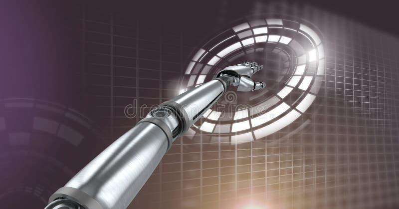 Robotachtige androïde hand ontroerende en Gloeiende van de cirkeltechnologie interface vector illustratie