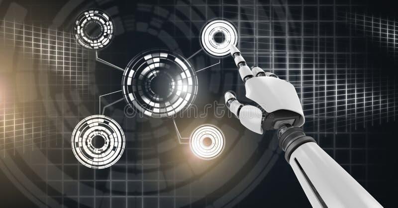Robotachtige androïde hand ontroerende en Gloeiende van de cirkeltechnologie interface royalty-vrije illustratie