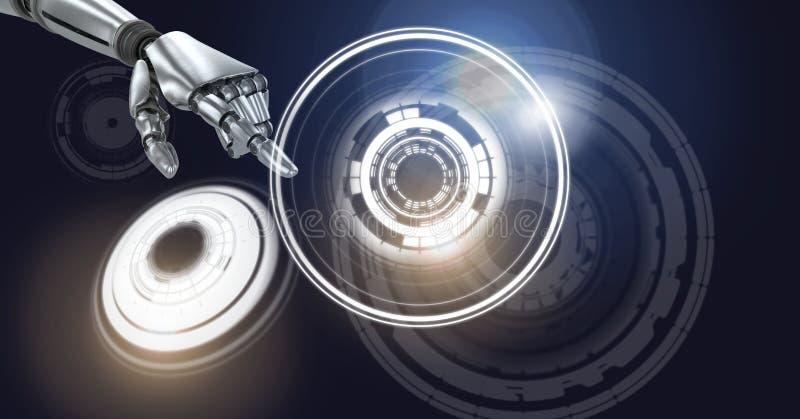 Robotachtige androïde hand ontroerende en Gloeiende van de cirkeltechnologie interface stock illustratie
