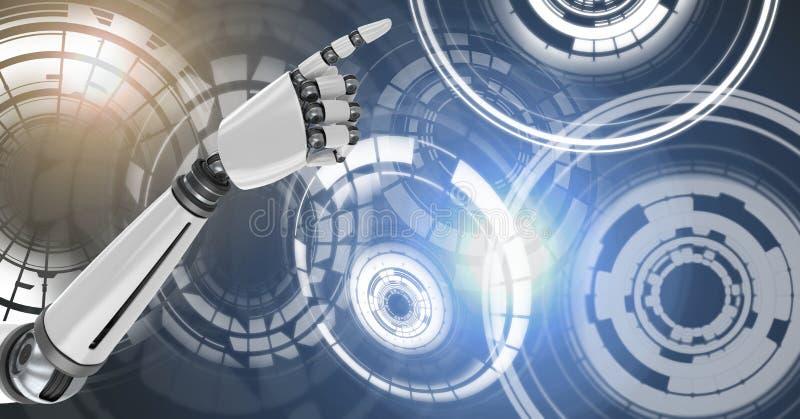 Robotachtige androïde hand richtende en Gloeiende van de cirkeltechnologie interface royalty-vrije illustratie