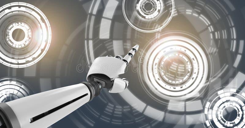 Robotachtige androïde hand richtende en Gloeiende van de cirkeltechnologie interface stock illustratie