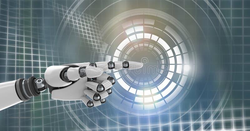 Robotachtige androïde hand richtende en Gloeiende van de cirkeltechnologie interface vector illustratie