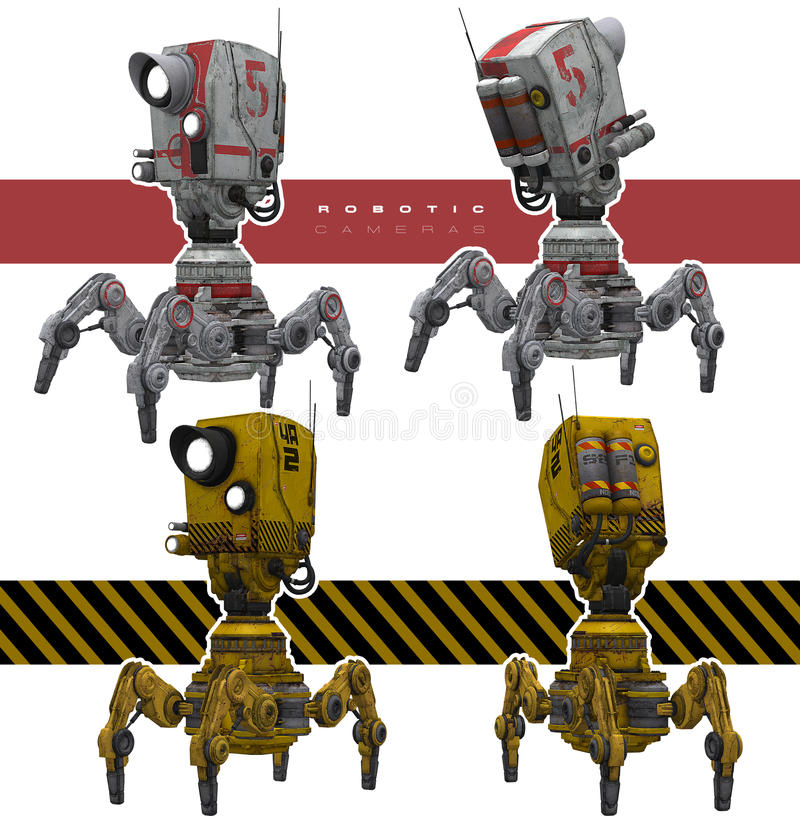 Robotachtige camera's stock illustratie