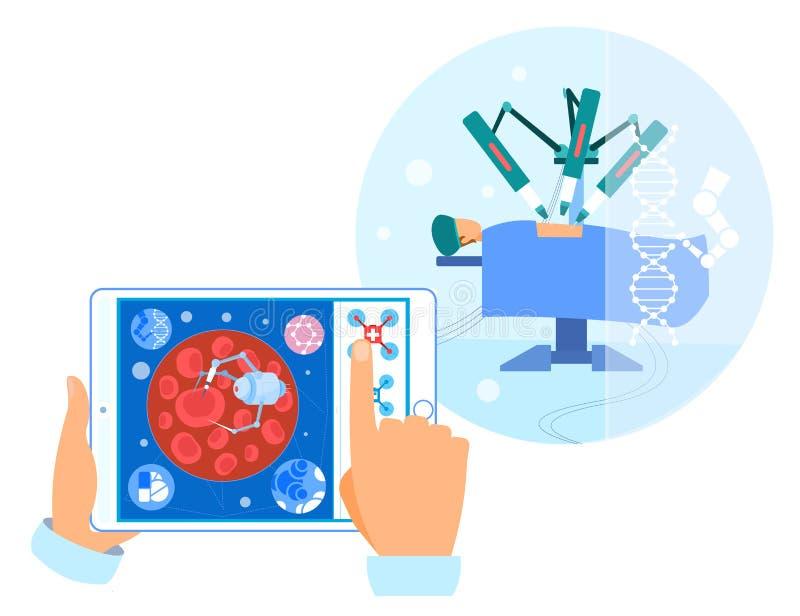 Robotachtige Chirurgie en Nano Technologieinterventie vector illustratie