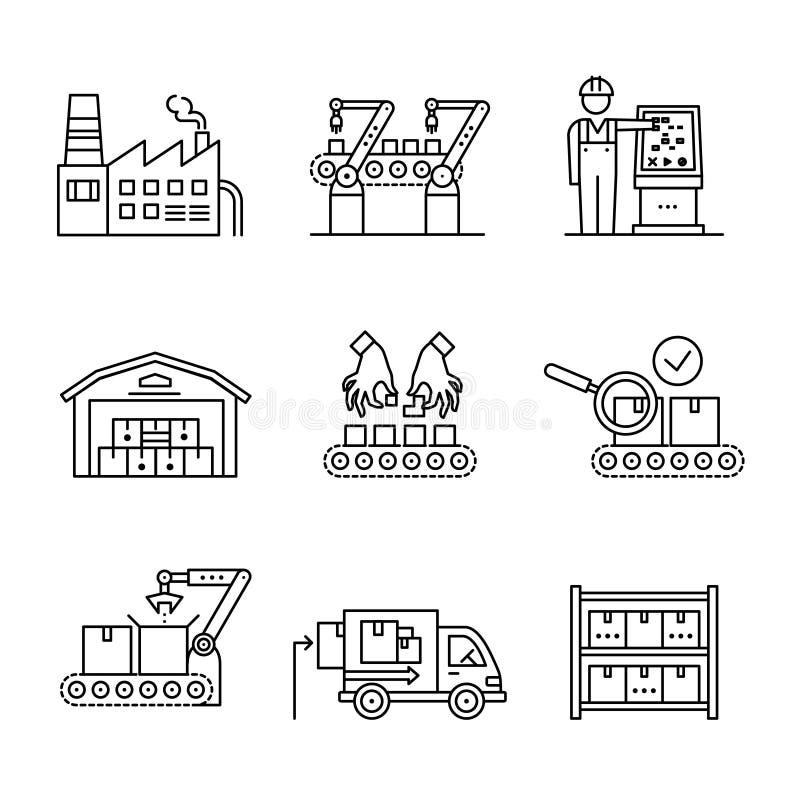 Robotachtige en hand productielopende band vector illustratie