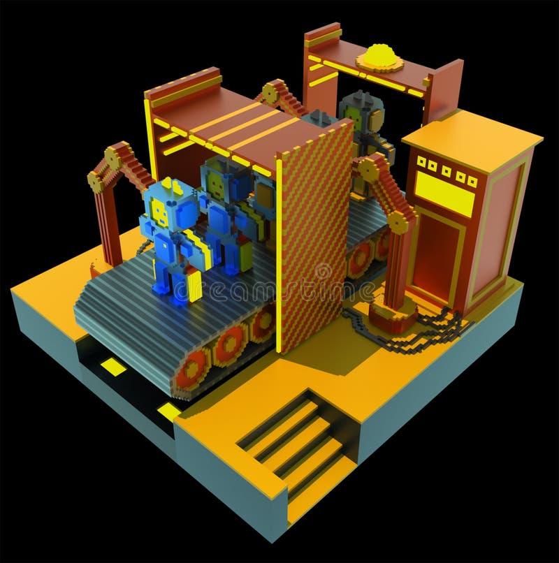 Robotachtige fabriek - 3d art. stock illustratie