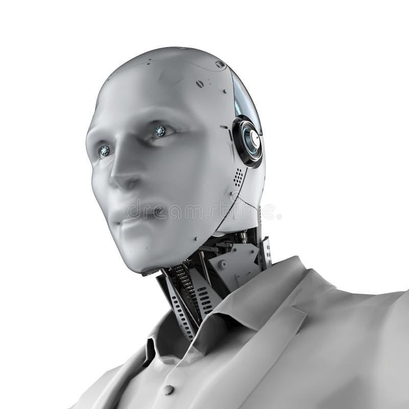 Robotachtige geïsoleerde zakenman stock illustratie