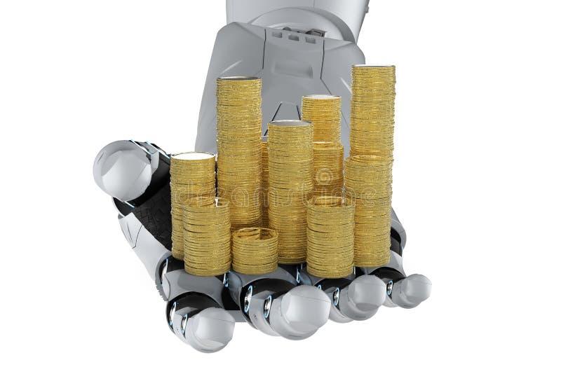 Robotachtige hand die gouden muntstukken houden vector illustratie