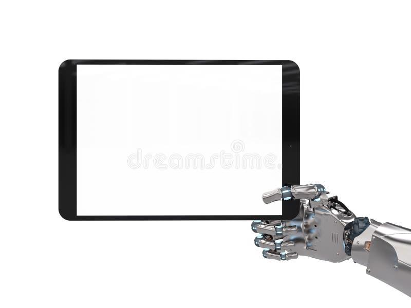 Robotachtige hand die het lege scherm houden stock afbeeldingen
