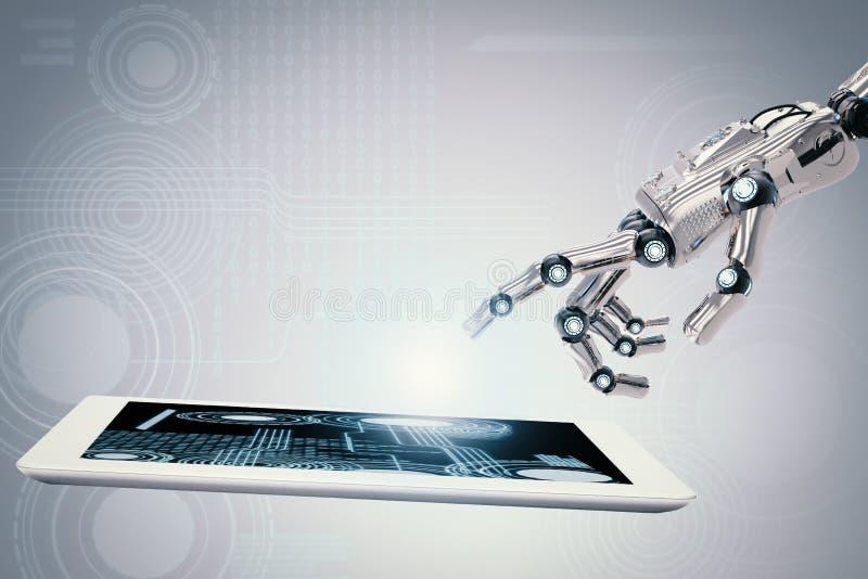 Robotachtige hand die met digitale tablet werken vector illustratie