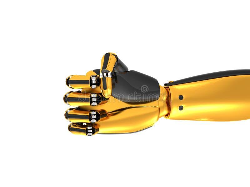 Robotachtige hand gouden en zwarte kleur royalty-vrije stock afbeeldingen