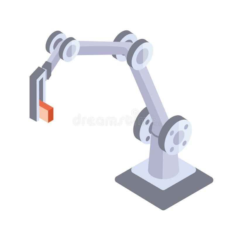 Robotachtige hand Industriële robotmanipulator Vectorillustratie in isometrische die projectie, op witte achtergrond wordt geïsol stock illustratie