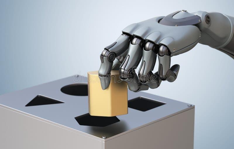 Robotachtige Hand met Logicadoos royalty-vrije illustratie