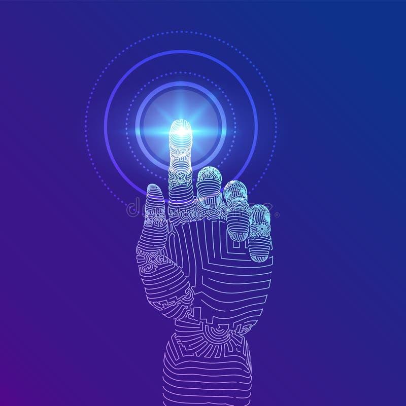 Robotachtige hand wat betreft digitale interface Virtuele werkelijkheid Raak de toekomstige wireframe illustratie Concept van vector illustratie