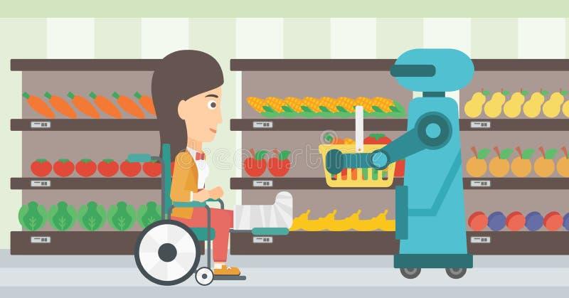 Robotachtige helper die in supermarkt werken royalty-vrije illustratie